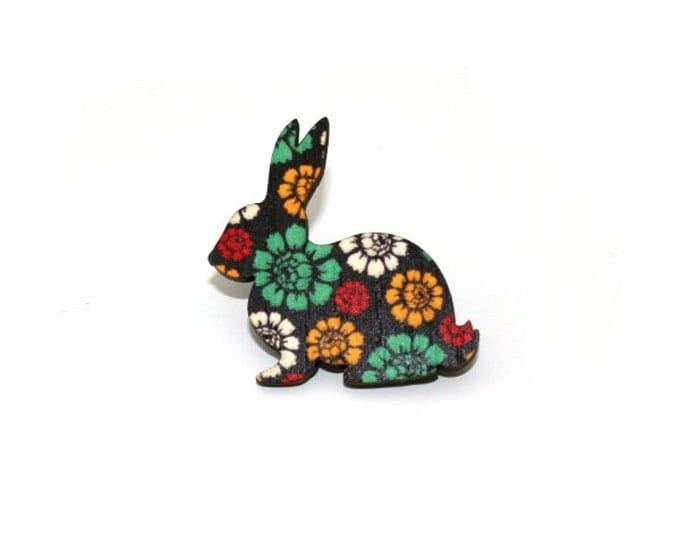 Rabbit Brooch, Easter Bunny, Flower Floral Illustration, Wood Jewelry, Animal Brooch, Woodland