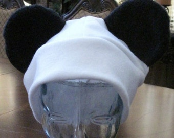 Panda ear hat in white , red or black in 6 sizes