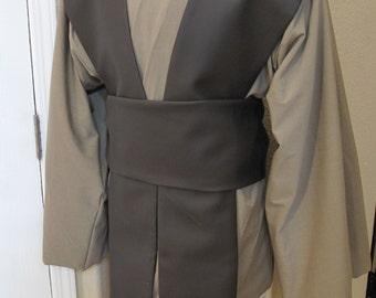 Khaki rayon suiting,brown pleather tabards Jedi tunic,tabards & sash costume set