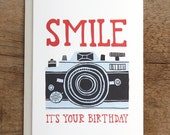Smile Birthday Camera Illustrated Card