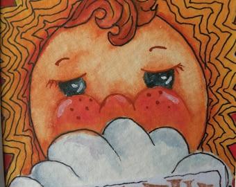 Art Card of Sun  ACEO Original Watercolor Miniature Art Matted Art 8 x 10 Childrens Art