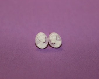 Tiny Lavender Victorian Lady Cameo Earrings