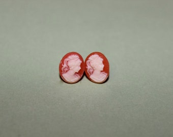Tiny Red Lady Cameo Earrings