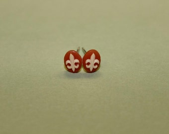 Teeny Red Fleur De Lis Cameo Earrings