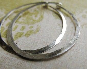 Silver Hoop Earrings ... Large 1.5 Inch Sterling Silver, Hammered Metalwork Jewelry