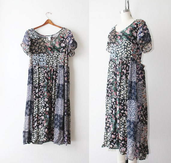 1990's Chiffon Patchwork Floral Maxi Dress Size Small