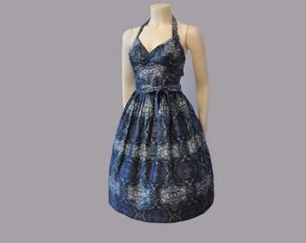 vintage dress / Cross Ur Heart Vintage 1950's Wrap Bodice Full Skirt 50s Dress