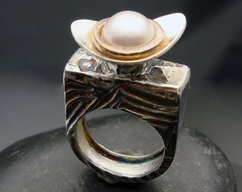 Ring, silver, mabe pearl, ON SALE Mabe Baby- Mabe Pearl and Sterling Silver Statement Ring with Rose Gold Accents