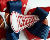 School Spirit Cheer Hair Bow - 4 Inch -Red White and Blue Polka Dots