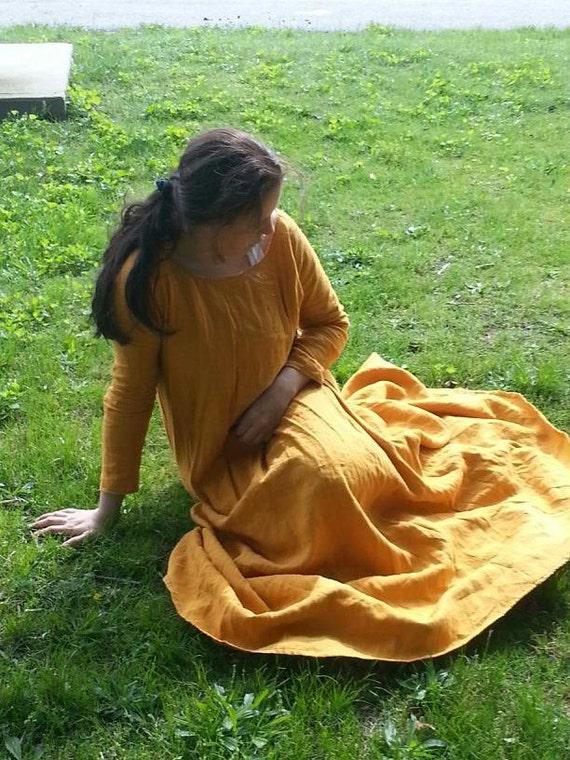 Custom Linen Medieval UnderTunic Dress SCA Renaissance Pagan LARP