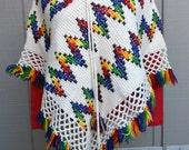 Vintage Crochet Poncho with Cross Stitched Zig Zag Design
