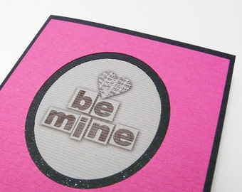 Valentine Card Heart Greeting Card Fuchsia Pink and Black Card with envelope Valentine's Day Blank inside