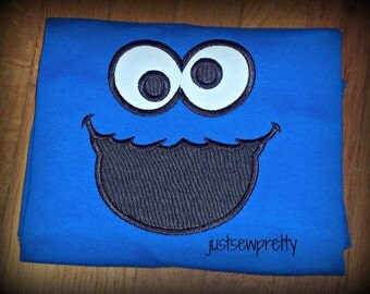 Monster Face Embroidery Applique Design