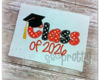 Class of 2026 Graduate Embroidery Applique Design