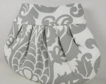 Pleated Clutch Evening Bag Purse Weddings  Bride Bridesmaid--Gray and White AMSTERDAM