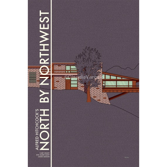 Mid Century Modern Movie poster North by Northwest print in various sizes