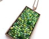 Green bead embroidery pendant, antique copper bezel necklace, romantic, bohemian style, Coachella, unique, one of a kind, Green melange