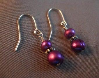 Flashy Purple Sterling Silver Fresh Water Pearl Dangling Earrings