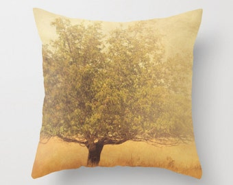 decorative pillow cover, rustic home decor, mustard yellow gold, olive green brown, tree photography, California pillow 18x18 pillow, autumn
