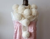 Long Scarf with huge pompoms in ivory/ extra long hand knitted scarf / winter wedding / winter fashion /  gift under 100