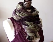 Aubergine eggplant ombre scarf shawl, velvet extra large scarf, chunky scarf, oversized scarf, long wrinkled scarf wrap, high fashion scarf