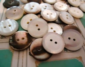MOP vintage Mother of pearl buttons (new old stock) 50 antique bevelled edge