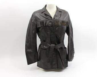 1970s Leather Fringe Ladies Jacket Size 36, Lined & Supple