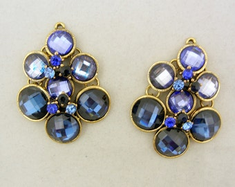 Pair of Faceted Blue Gold-tone Drop Charms