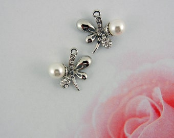 Pair of Silver-tone Butterfly Charms with Faux Pearl