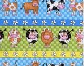 Clearance Sale - Half-yard Cut - Blue and Green Cows - fabric B6713P