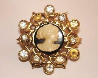 vintage faux diamonds gold cameo brooch