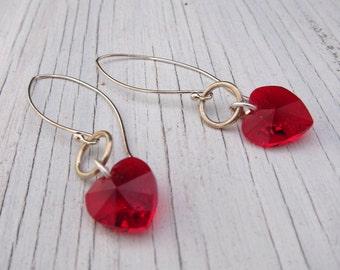 SWAROVSKI RED HEART Earring