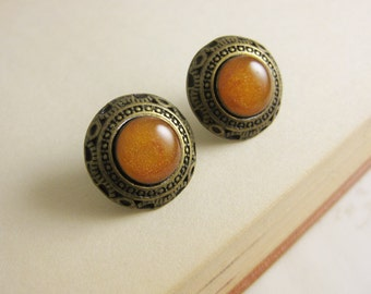 Golden Amber Orange Art Deco Stud Earrings - Round Vintage style Orange and Gold resin studs - Bronze with Surgical Steel Posts