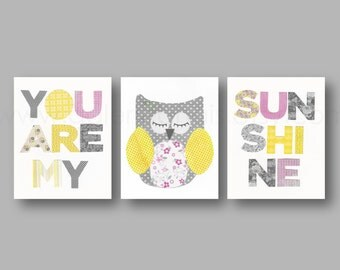 Yellow and Gray Nursery Decor Baby Girl Nursery Decor Kids Art Bird Owl Words Set of 3 Prints You Are My Sunshine