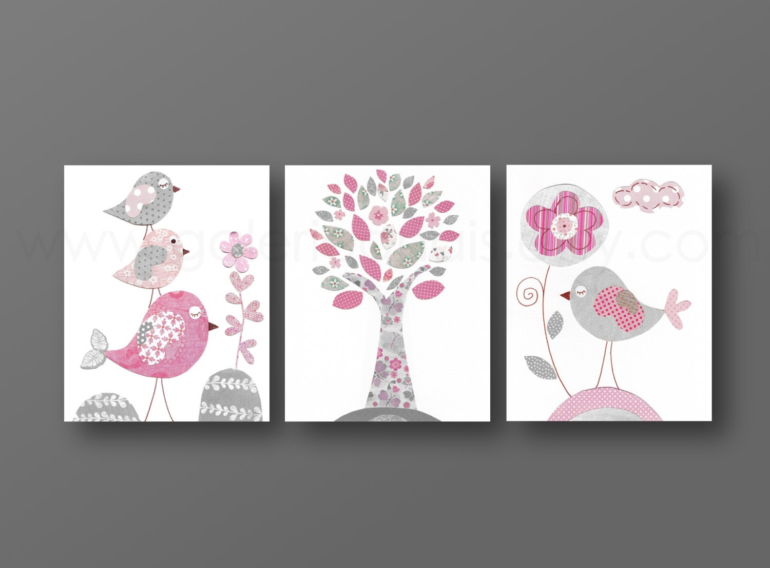 Pink and gray nursery wall art baby nursery decor girl for Cadre pour decoration maison