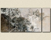 "Oversize modern art triptych canvas print from abstract painting, 30x60 to 40x78 on stretched canvas, in neutral tones, ""Geologic Time"""