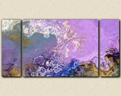 "Oversize triptych abstract expressionism stretched canvas print, 30x60 to 40x78 in lilac and blue, from abstract painting ""Lilac Festival"""