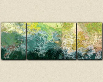 "Oversized triptych abstract art 30x80 to 34x90 canvas print, giclee in blue, green and yellow, from abstract painting ""Sea Coast"""