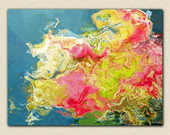 "Abstract contemporary art stretched canvas print, 30x40 to 40x54 giclee in pink flambé and ultramarine green, from abstract painting ""Aria"""