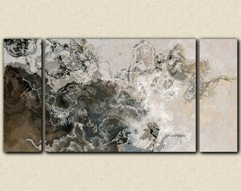 """Oversize modern art triptych canvas print from abstract painting, 30x60 to 40x78 on stretched canvas, in neutral tones, """"Geologic Time"""""""