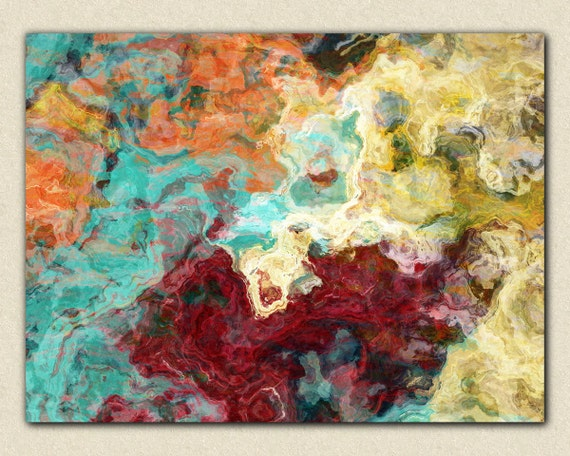 """Abstract expressionism canvas print, 30x40 to 40x54 giclee with gallery wrap in fall colors, from abstract painting """"Essential Persimmon"""""""