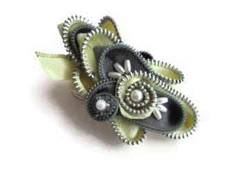 Jewelry Zipper Brooch Statement Pin Corsage Millinery Sash Embellishment Handmade by handcraftusa