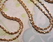 Vintage Crinkle Brass Chain Necklace, 30 inch, 24 inch, (1)