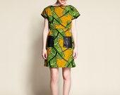 "Woman Cotton Dress Rangoon Fluo green Fern motif ""SUPER SALE """