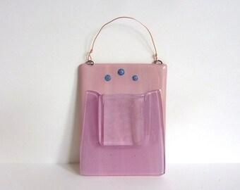 Pink Fused Glass Wall Pocket Vase
