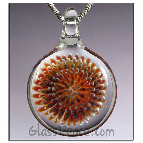 Implosion Glass Pendant lamwpork focal necklace bead - Glass Peace blown glass jewelry (2438)