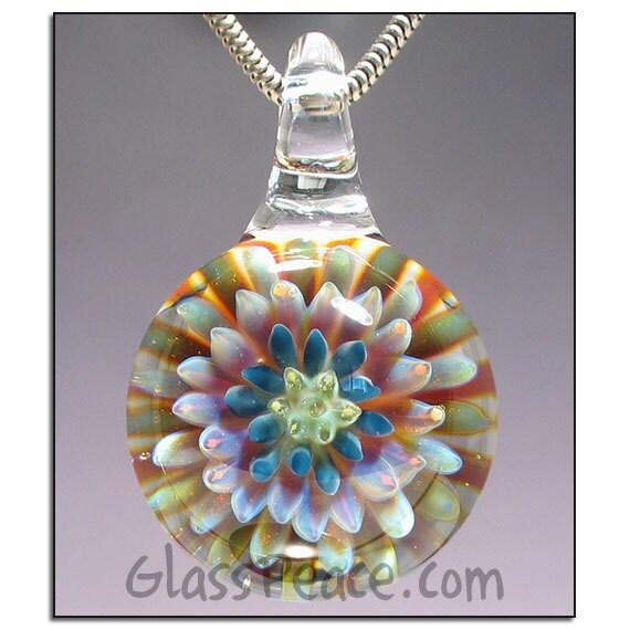 Lampwork Focal Sea Anemone glass pendant boro bead - Glass Peace glass jewelry (5403)