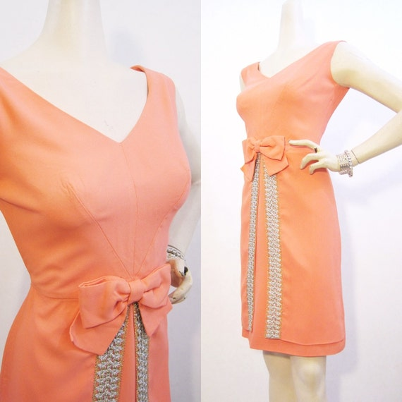 60s Dress Vintage Coral Bow Silver Gold Cocktail Party M