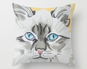 "16x16"" Throw Pillow Cover featuring a gorgeous silver kitty portrait"