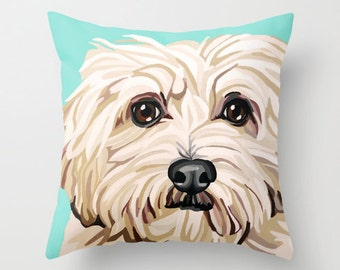 "16x16"" Throw Pillow Cover featuring a Maltese Pet Portrait"
